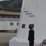 Rena Galt unveiling the John A. Galt Telescope.