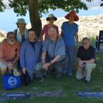 Pilgrimage to John Galt's gravesite. L-R: Woody Sullivan, Barbara Sullivan, Tim Robishaw, Libby Goss, Miller Goss, Ellen Bouton,  Ron Enders