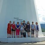 Women in Canadian Radio Astronomy. L-R: Bouton, Griffin, Matthews, Jarrell, Locke, Kirk, Brown, Gower